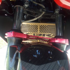 Gold CBR radiator cover Red Aluminum fork brace Vortex Stainless Braided Brake Hoses